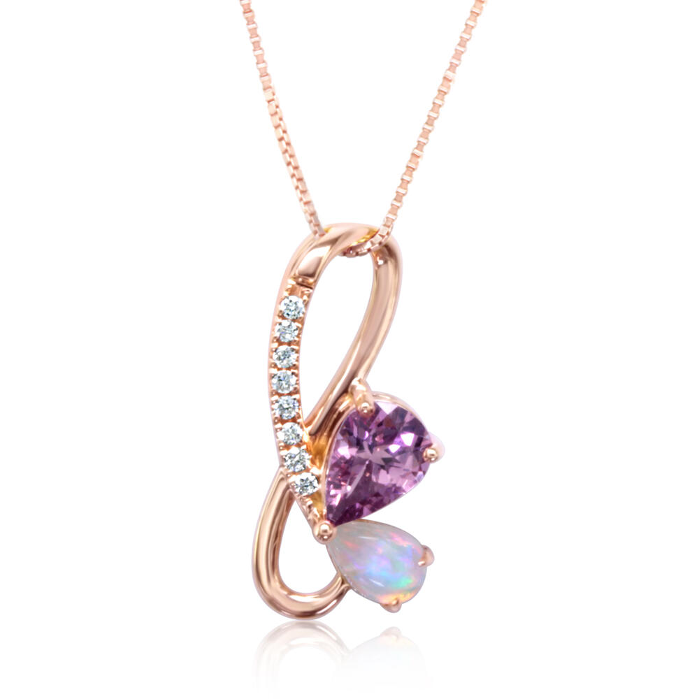 Rose Gold Lotus Garnet Pendant - 14K Rose Gold Lotus Garnet/Australian Opal/Diamond Pendant