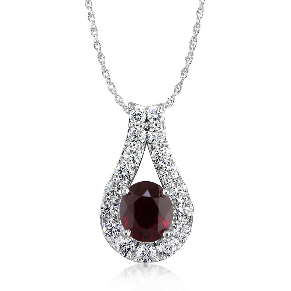 18K White Gold Mozambique Ruby/Diamond Pendant - 18K White Gold Mozambique Ruby/Diamond Pendant