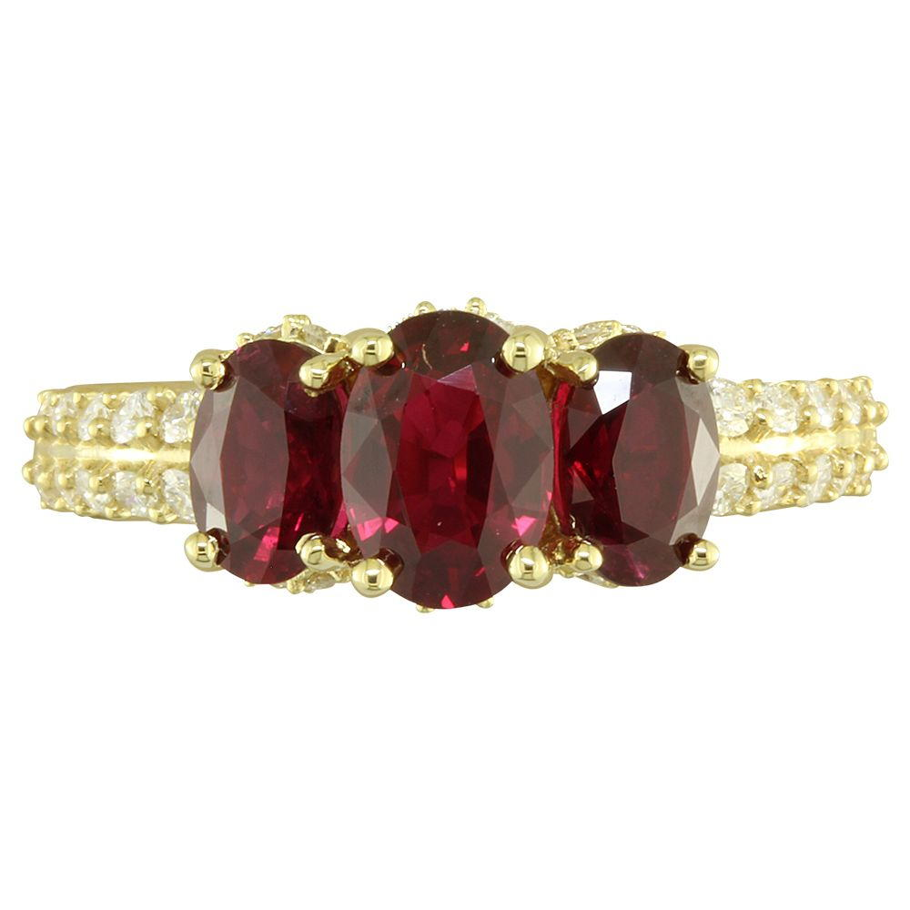 18K Yellow Gold Mozambique Ruby/Diamond Ring - 18K Yellow Gold Mozambique Ruby/Diamond Ring