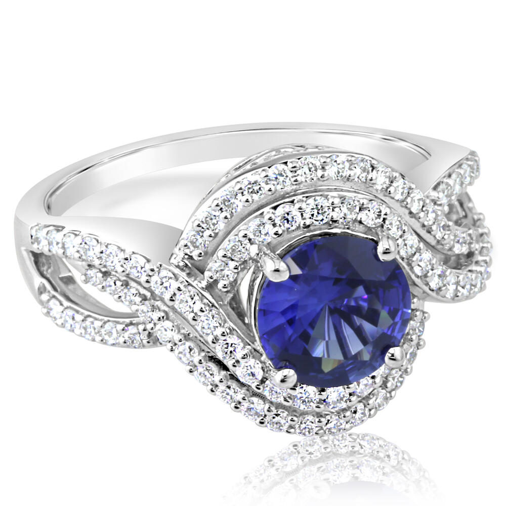 18K White Gold Blue Sapphire/Diamond Ring by Parle