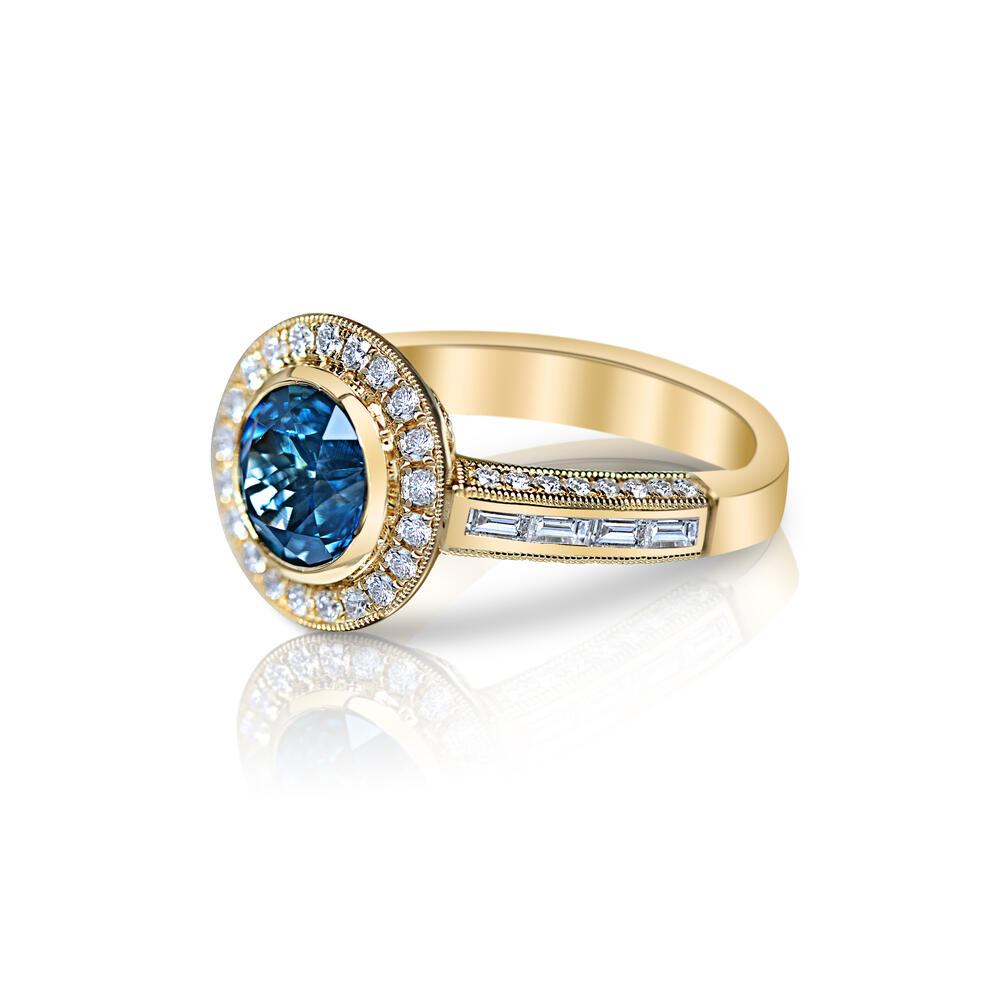 Rings - Yellow Gold Sapphire Ring - image #2