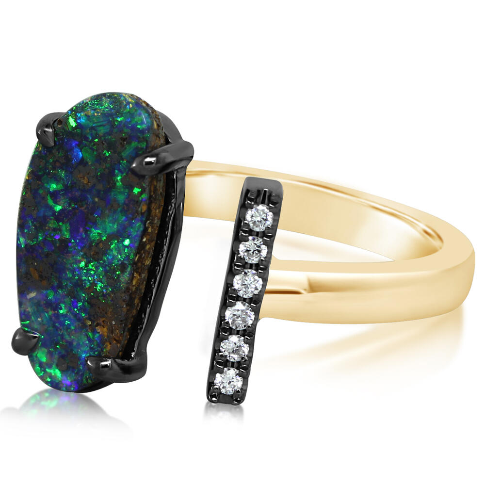 Mixed Boulder Opal Ring by Parle