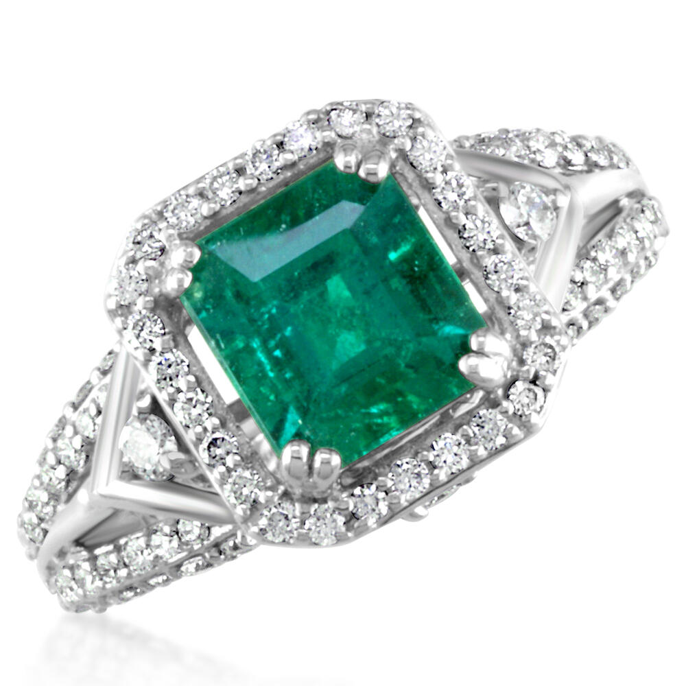 18K White Gold Brazilian Emerald/Diamond Ring - 18K White Gold Brazilian Emerald/Diamond Ring