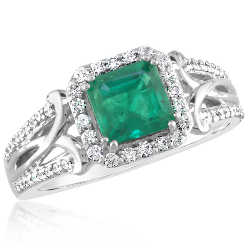 18K White Gold Brazilian Emerald/Diamond Ring by Parle