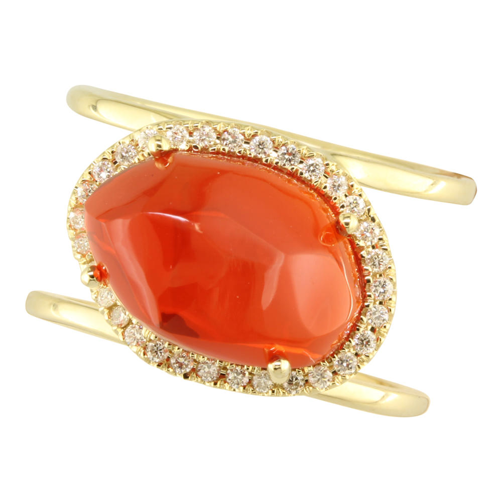 Rings - Rose Gold Fire Opal Ring - image #2