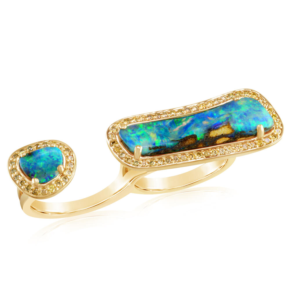 Yellow Gold Boulder Opal Ring by Parle