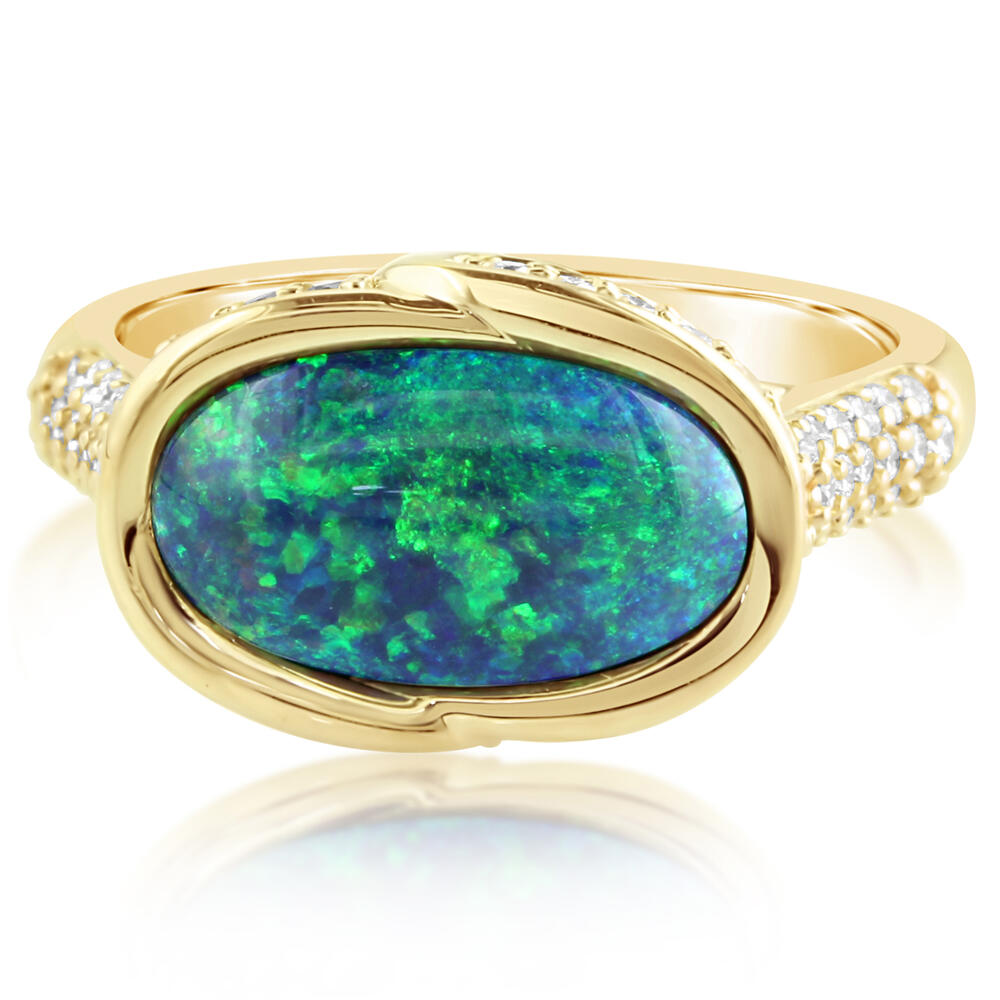 Yellow Gold Black Opal Ring by Parle