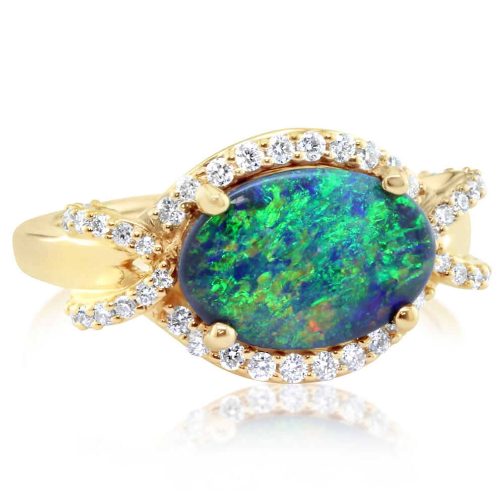 Yellow Gold Black Opal Ring - 18K Yellow Gold Australian Black Opal/Diamond Ring