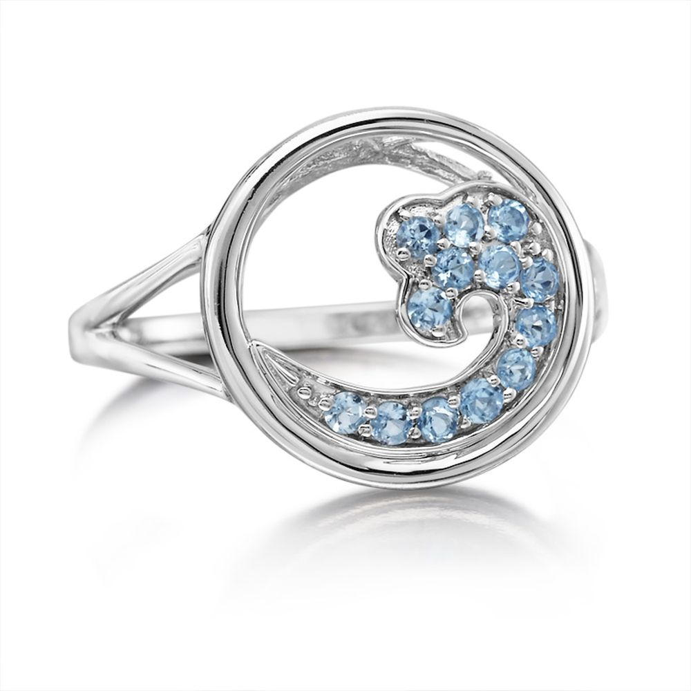 Sterling Silver Blue Topaz Wave In Circle 15mm Ring - Sterling Silver Blue Topaz Wave In Circle 15mm Ring