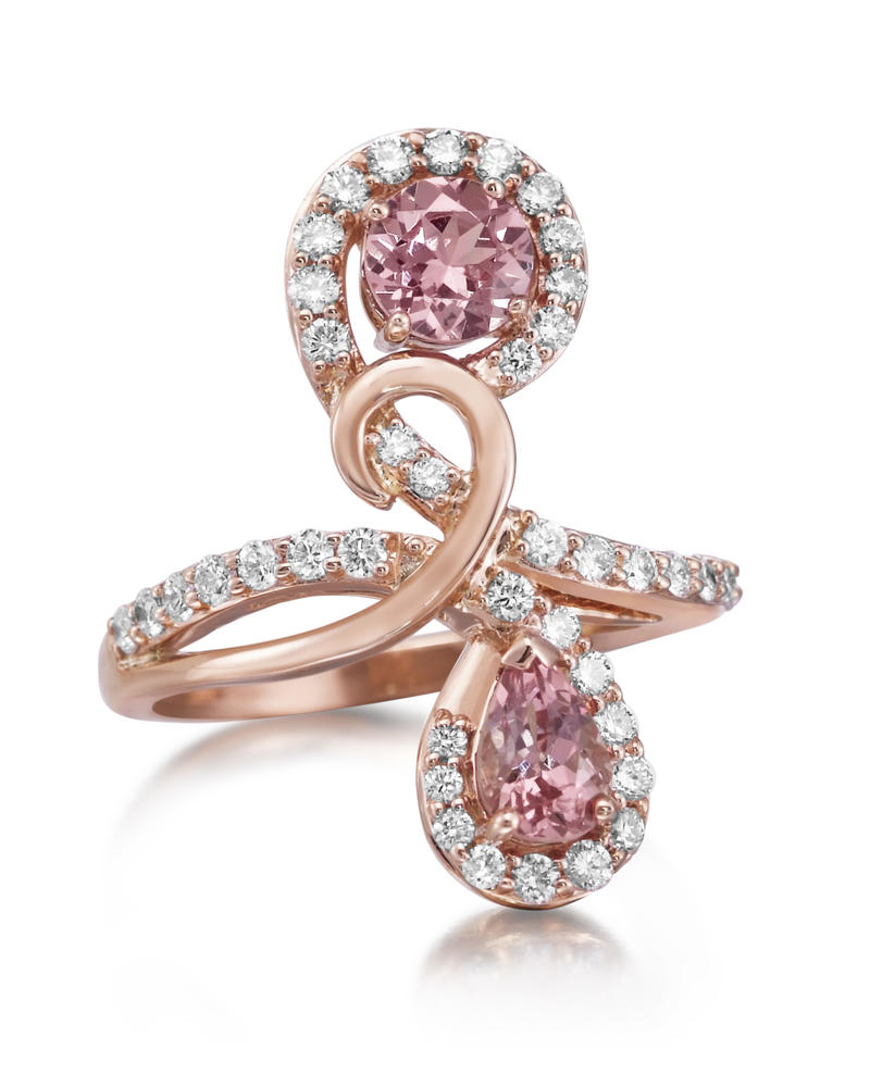 Rose Gold Lotus Garnet Ring - 14K Rose Gold Lotus Garnet/Diamond Ring