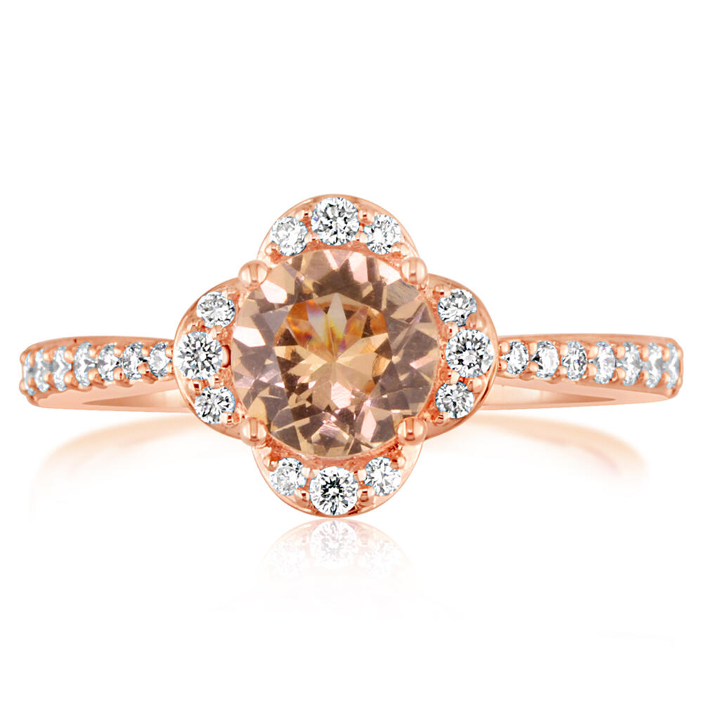 14K Rose Gold Lotus Garnet/Diamond Ring - 14K Rose Gold Lotus Garnet/Diamond Ring