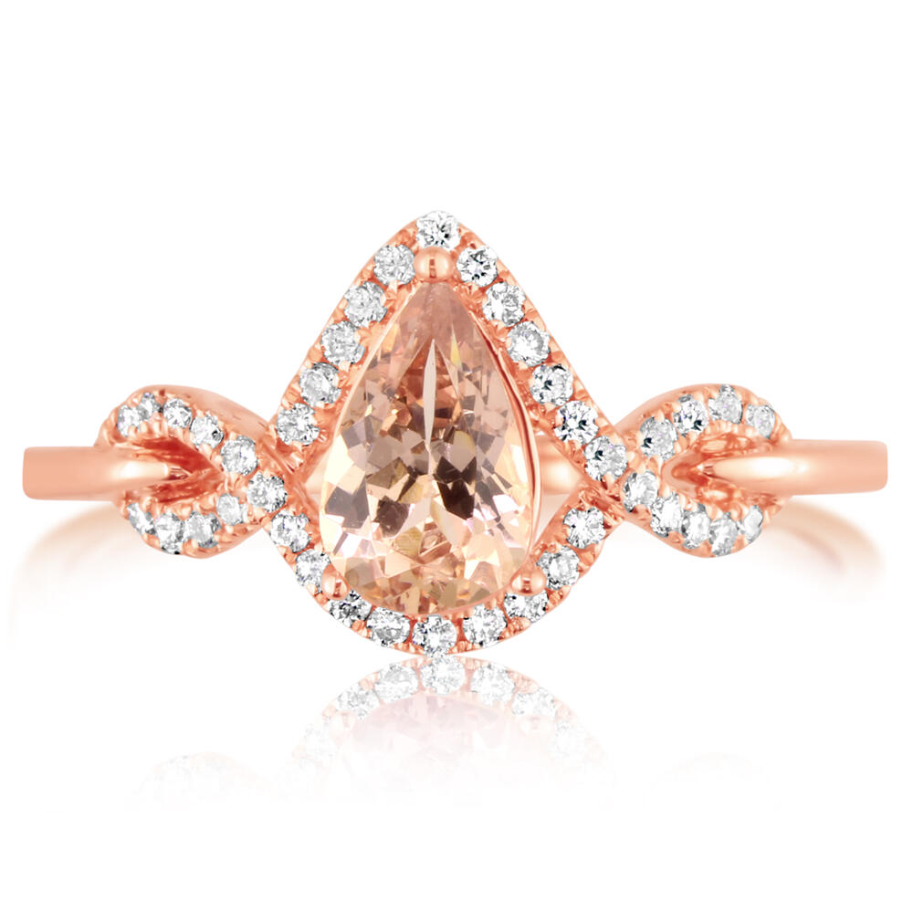 14K Rose Gold Lotus Garnet/Diamond Ring by Parle