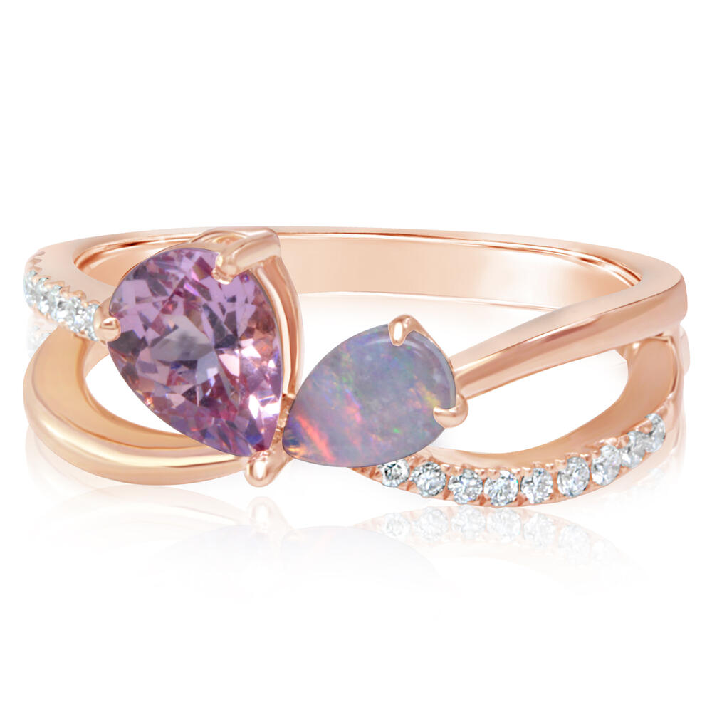 Rose Gold Lotus Garnet Ring - 14K Rose Gold Lotus Garnet/Australian Opal/Diamond Ring
