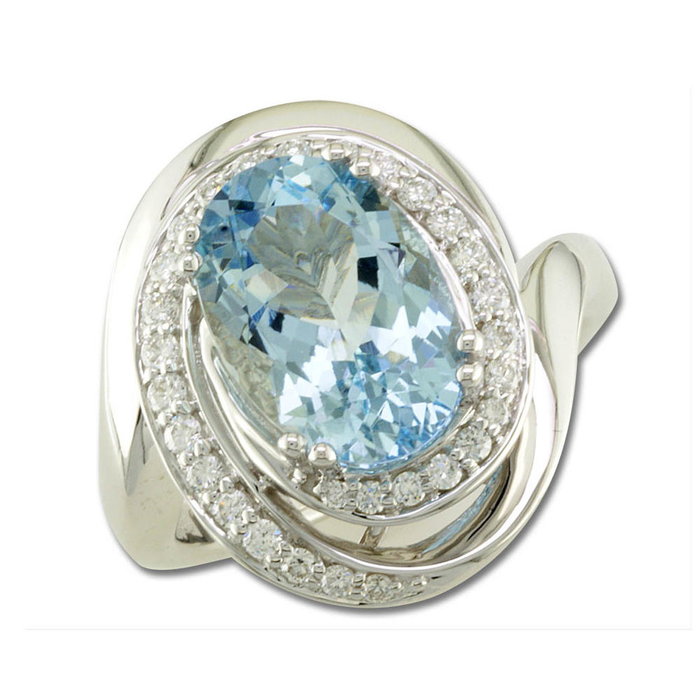 18K White Gold Aquamarine/Diamond Ring by Parle