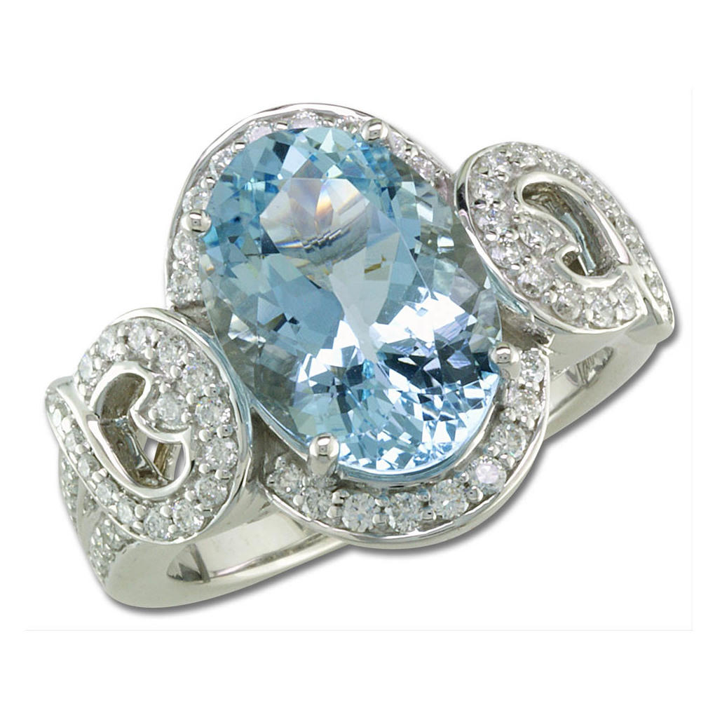18K White Gold Aquamarine/Diamond Ring - 18K White Gold Aquamarine/Diamond Ring