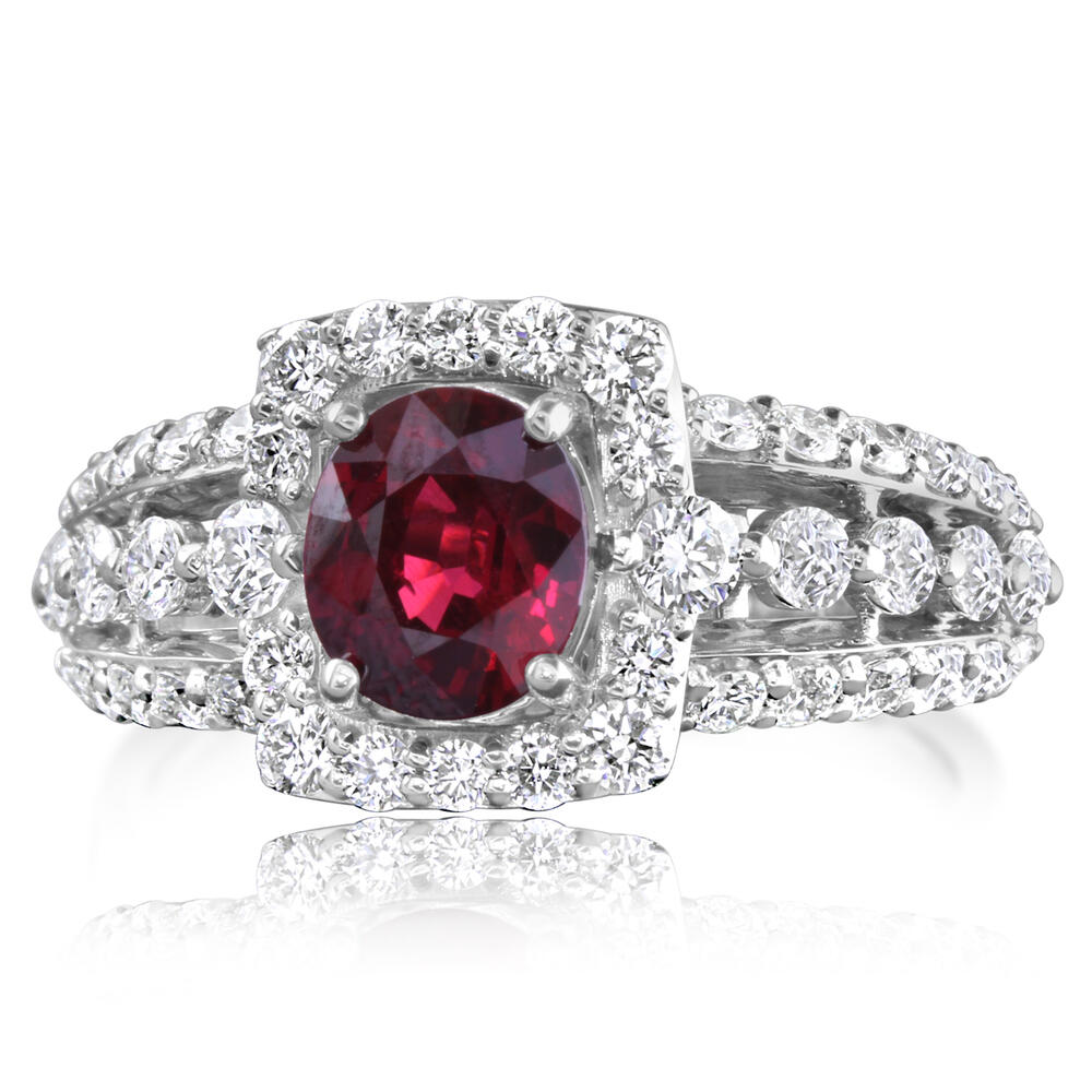 18K White Gold Mozambique Ruby/Diamond Ring by Parle