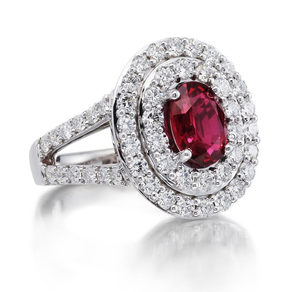 18k White Gold Mozambique Ruby Diamond Ring Rrzov0650205qi Rings