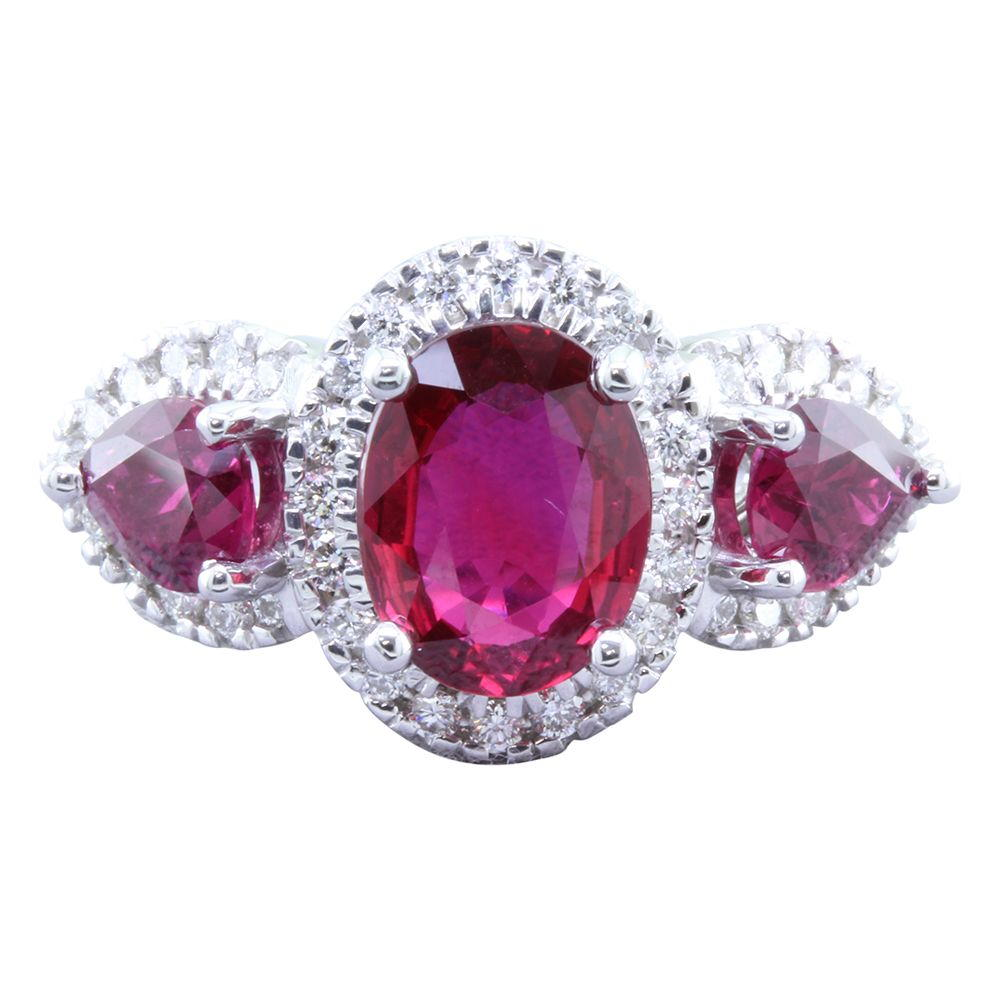 White Gold Ruby Ring by Parle