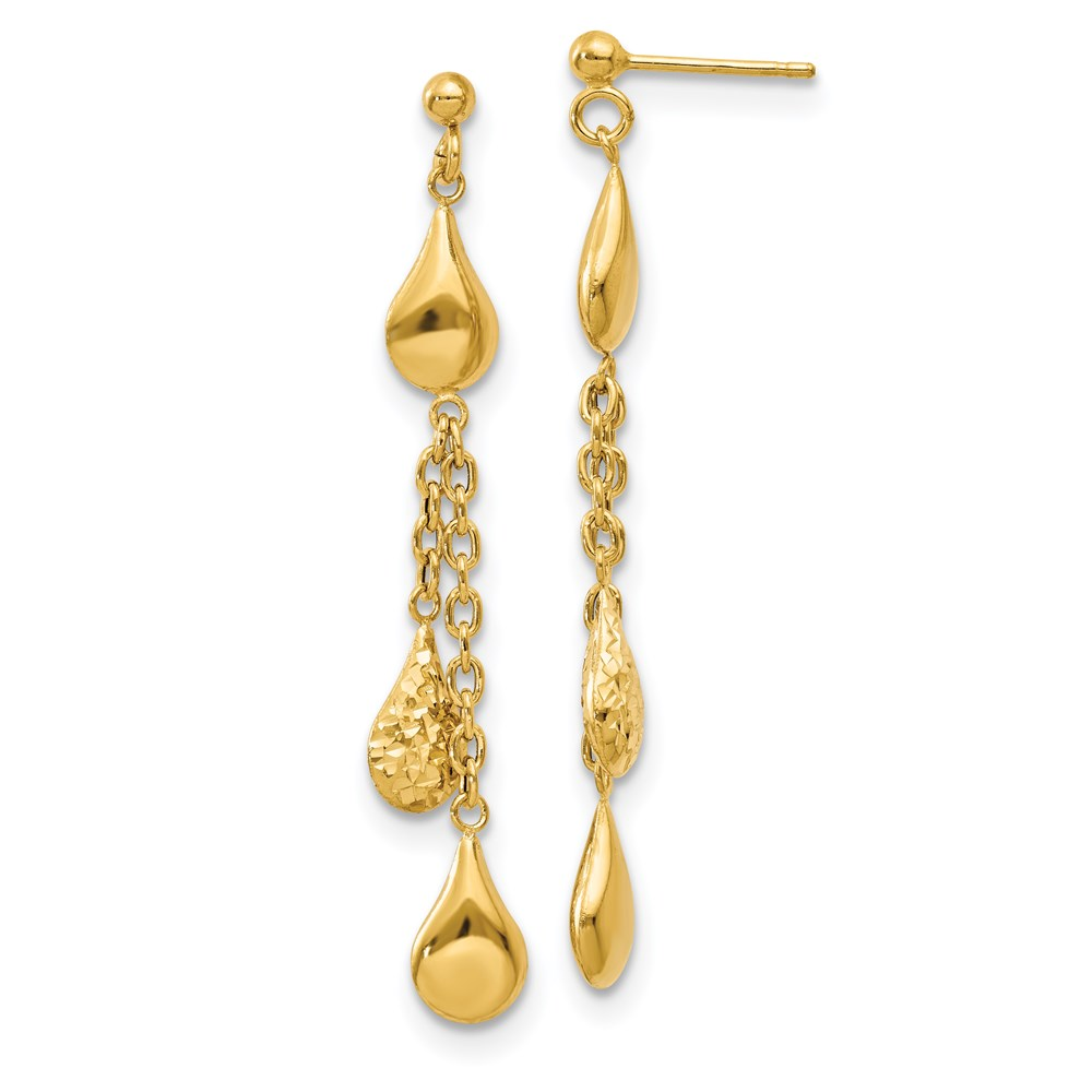 14k Yellow Gold Earrings - Leslie's 14K Polished D/C Tear Drop Dangle Post Earrings