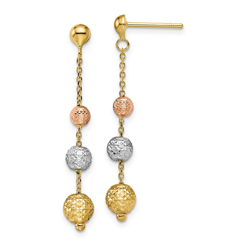 14k Yellow & Rhodium Earrings - Leslie's 14K Tri-color Polished Dangle Earrings