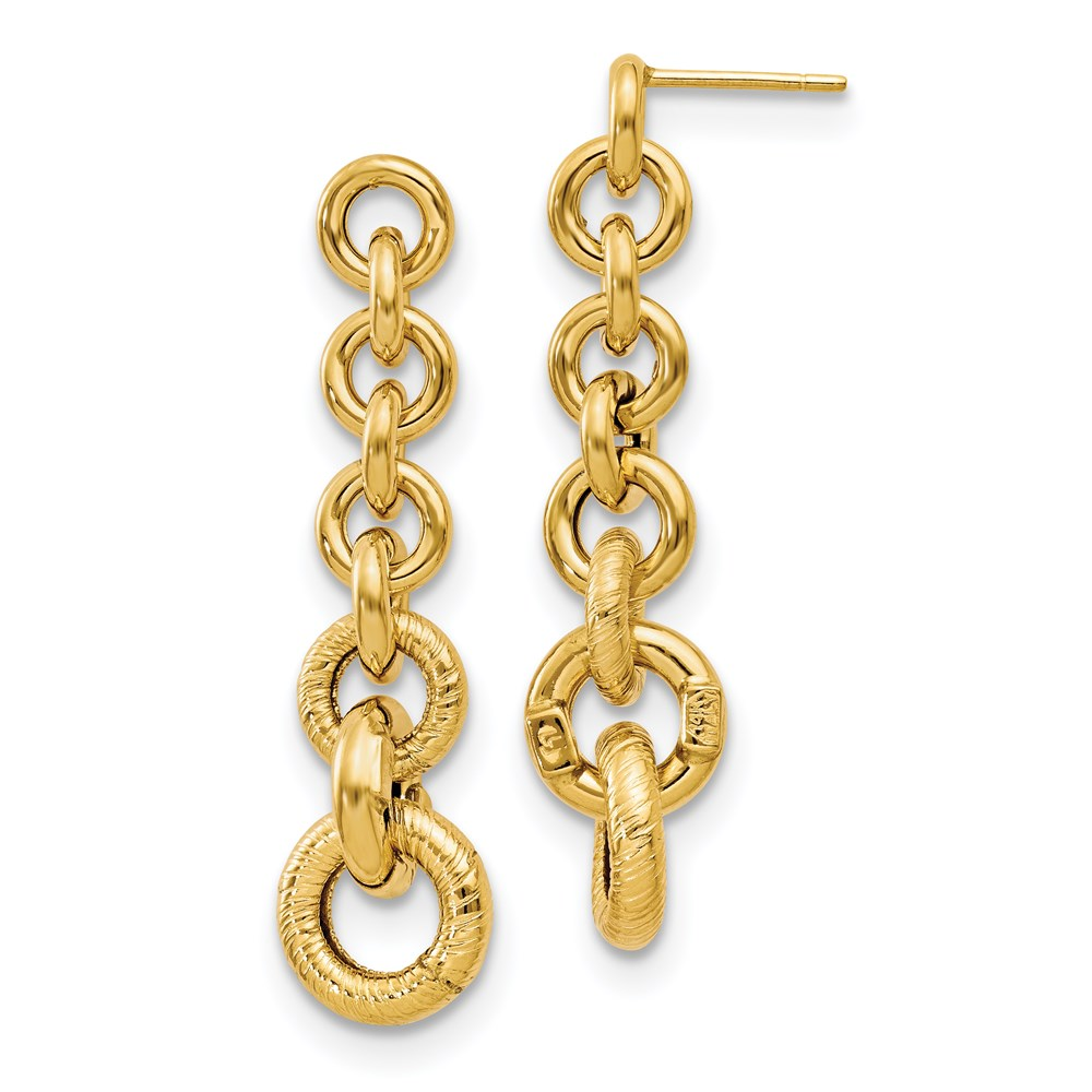 14k Yellow Gold Earrings - Leslie's 14K Polished Fancy Dangle Earrings