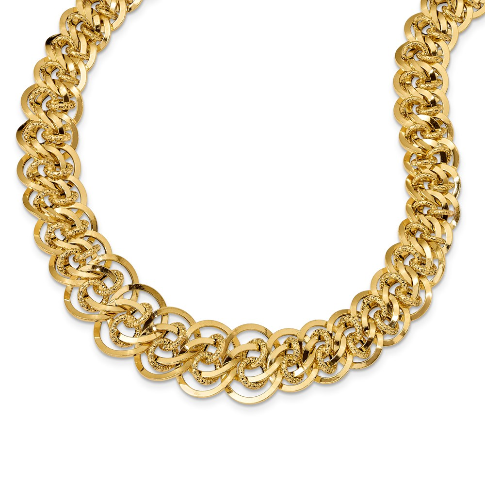 14k Yellow Gold Necklace - Leslie's 14K Polished & Textured Fancy Link Necklace