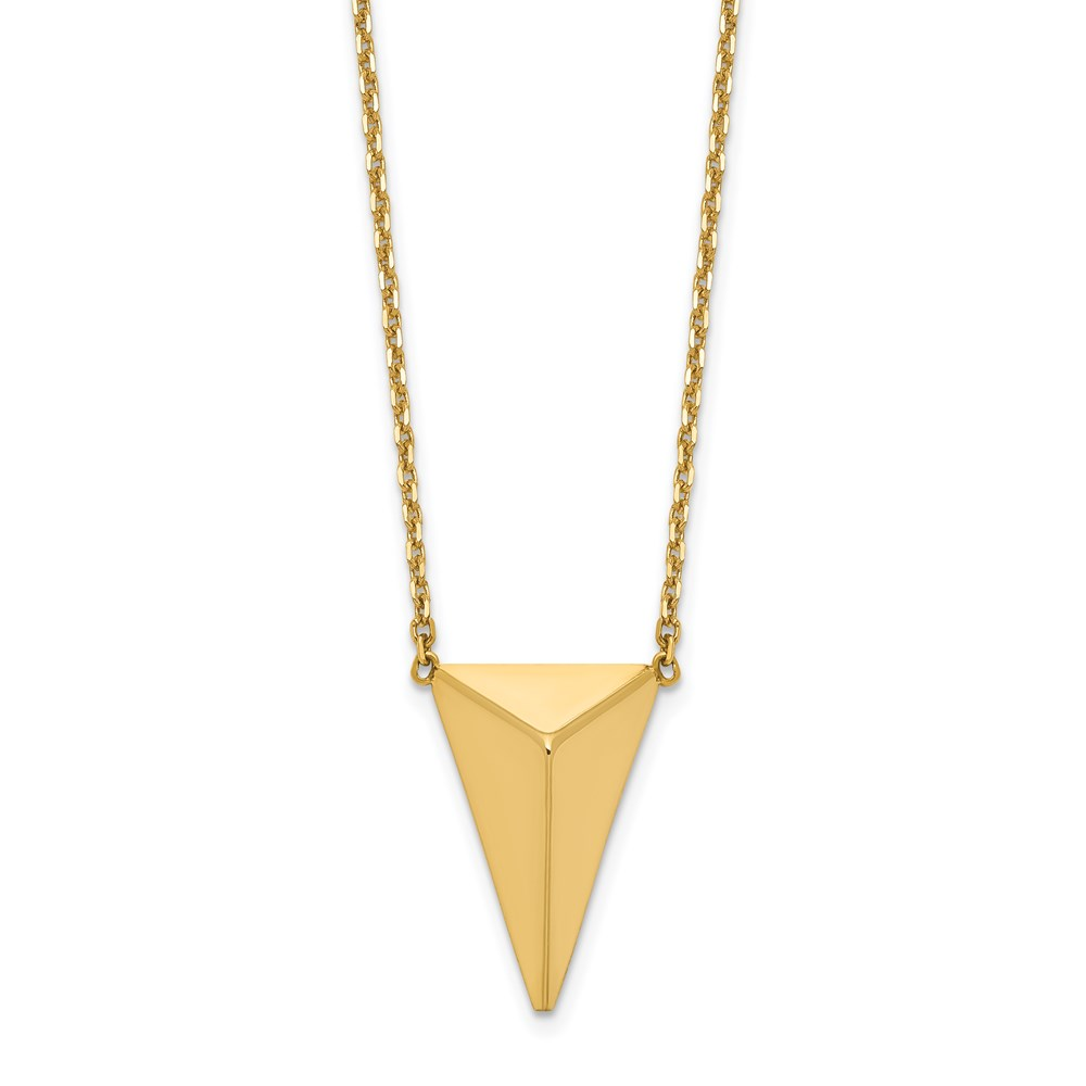 14k Yellow Gold Necklace - Leslie's 14K Polished 3D Triangle w/ 2 in ext Necklace