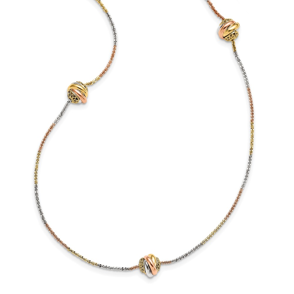 14K Tri-Color Gold Polished Necklace - Leslie's 14K Tri-color Polished Filigree Beaded Necklace