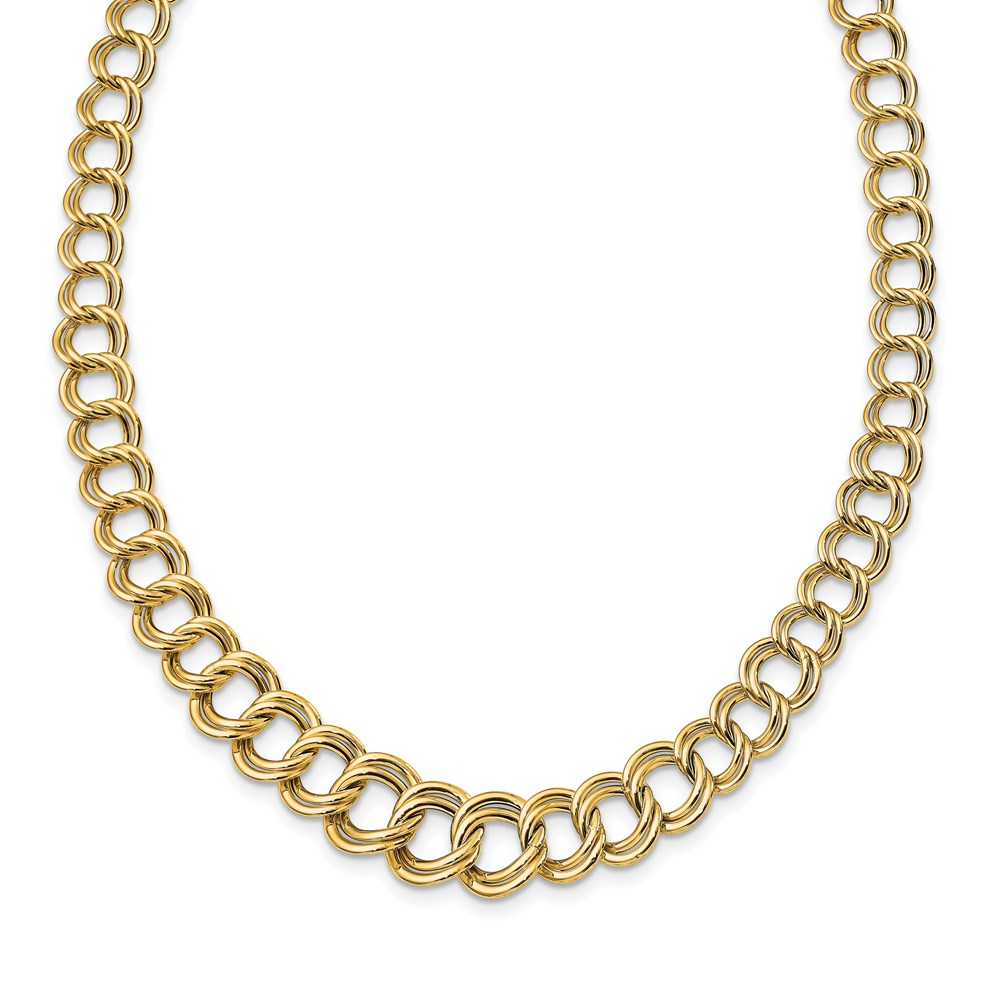 14K Yellow Gold Polished Necklace - Leslie's 14K Polished Graduated Double Link Necklace