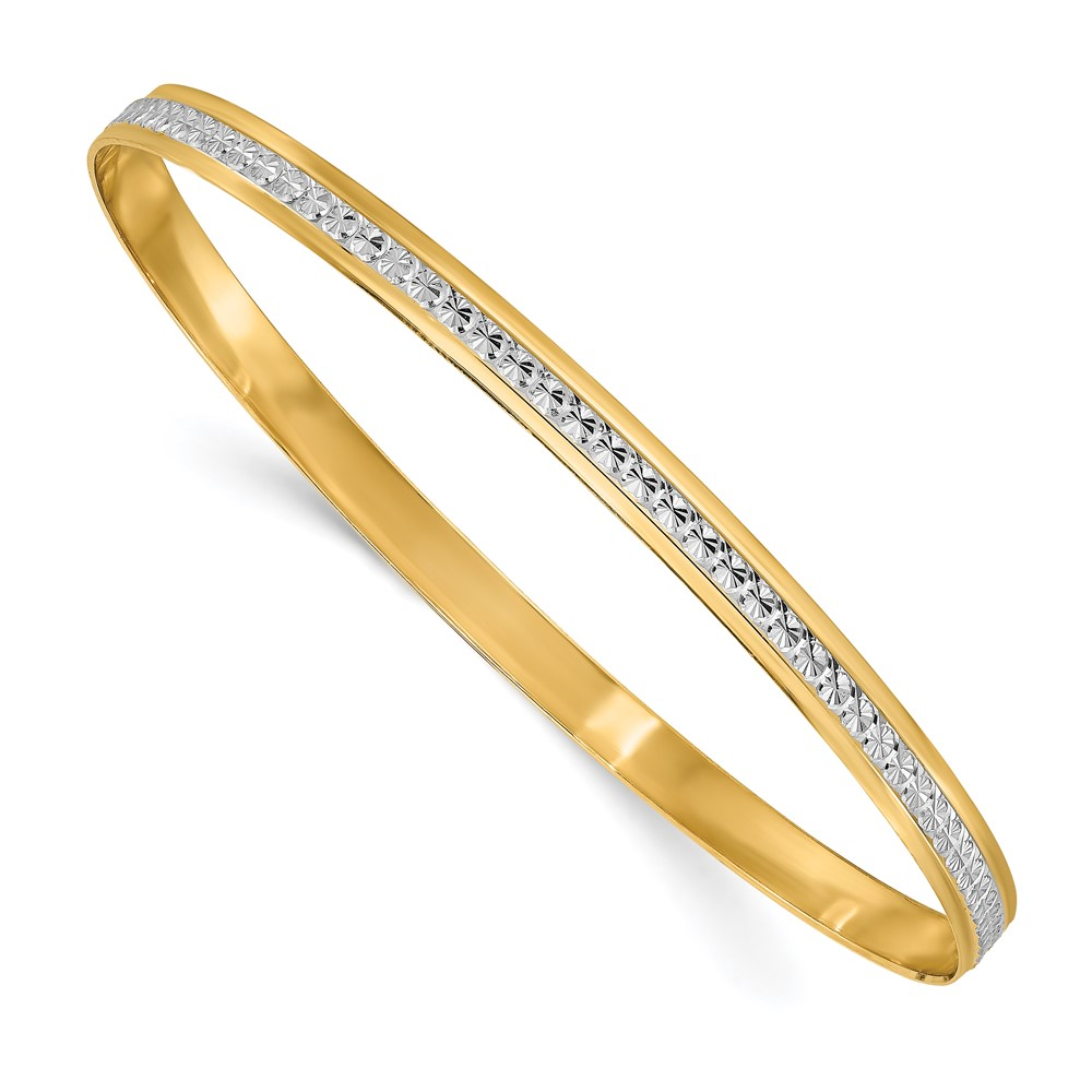 14K Yellow Gold Polished Bangle Bracelet by Leslie