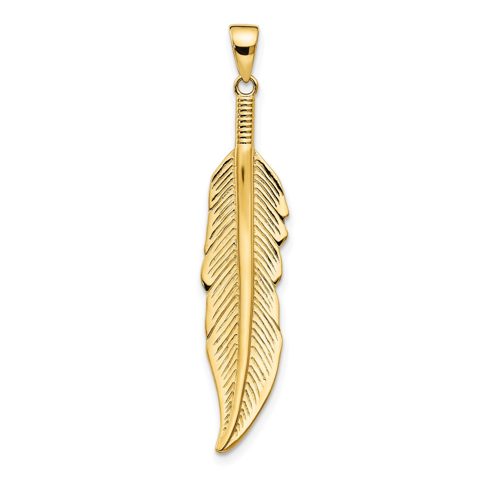 14k Yellow Gold Pendant - Leslie's 14K Feather Pendant