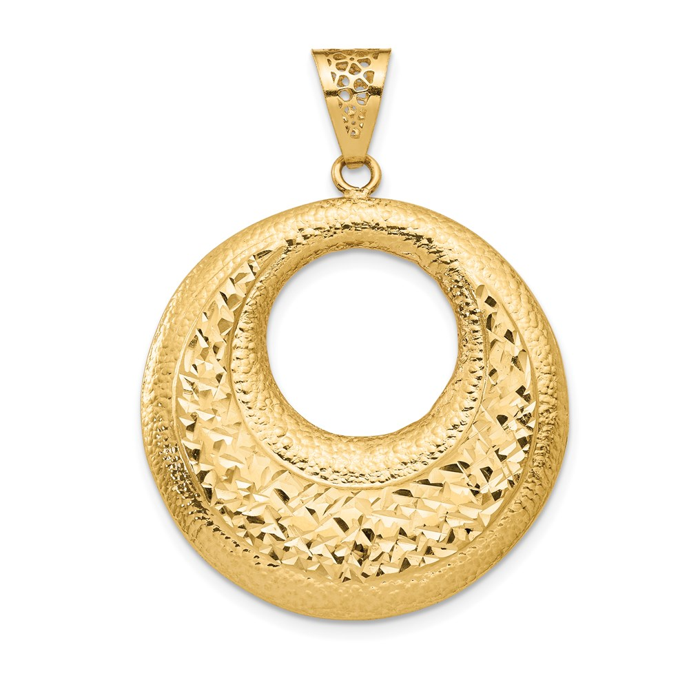 14k Yellow Gold Pendant - Leslie's 14K Polished & Brushed D/C Fancy Pendant