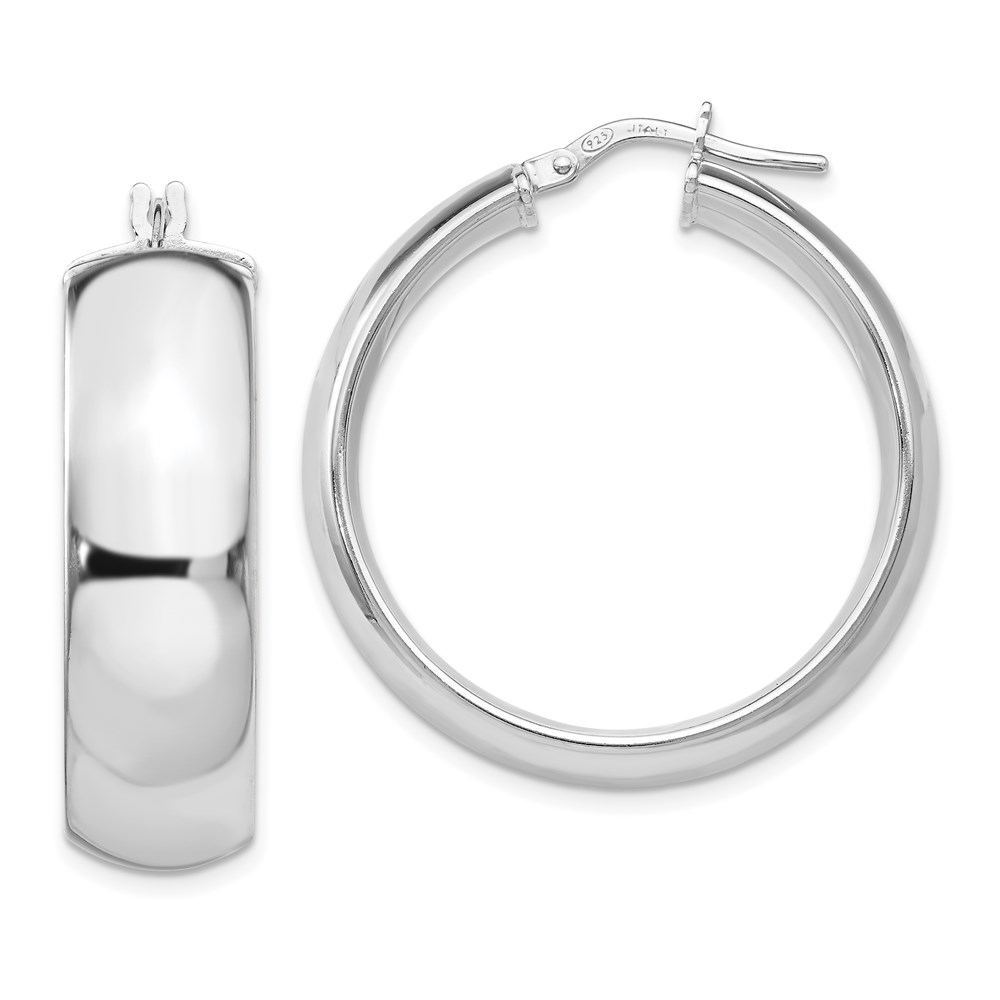 Sterling Silver Hoop Earrings - Leslie's Sterling Silver Rhodium-plated Hoop Earrings