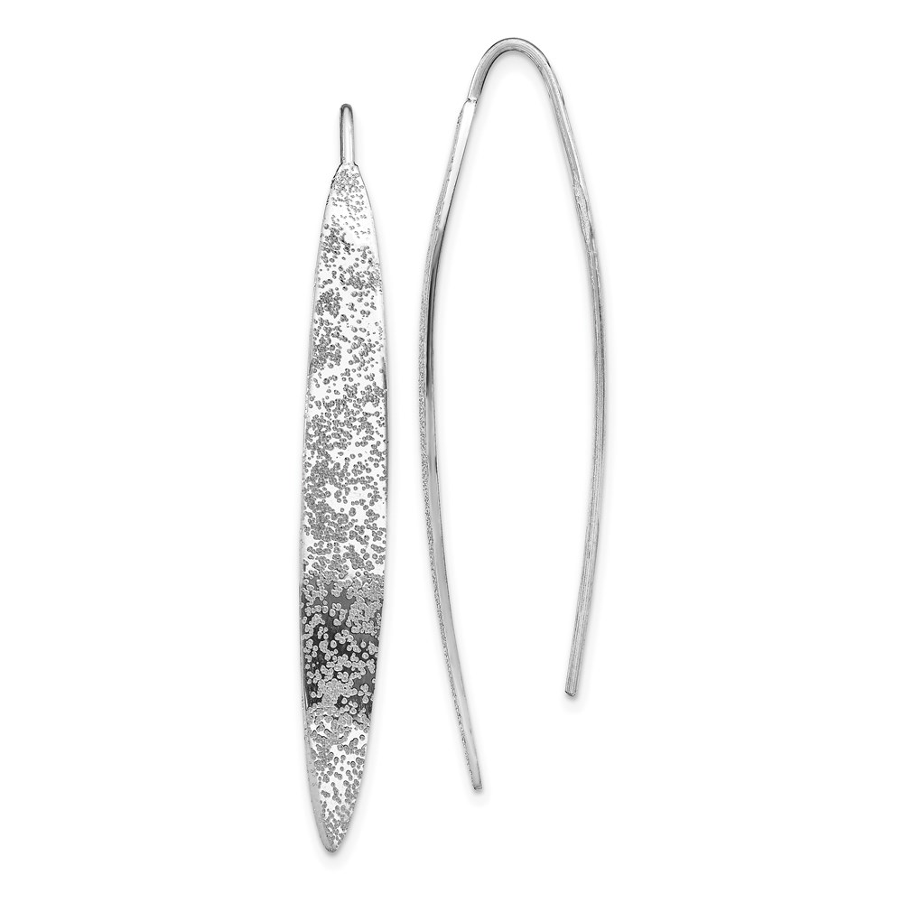 silver earrings - QLE1295 | QLE1295 - Leslie's Sterling Silver Rh-plated Polished Textured Threader Earrings