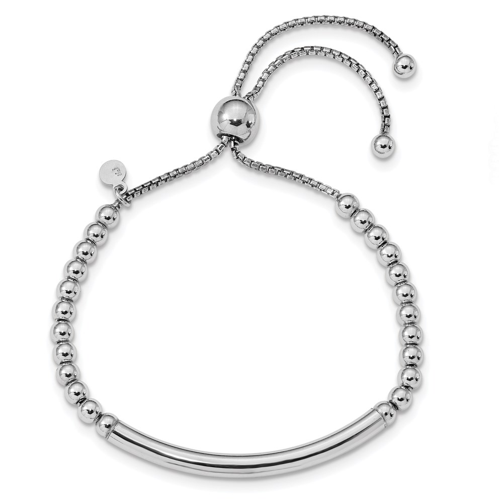 Sterling Silver Bracelet - Leslie's Sterling Silver Polished Beaded Adjustable Bracelet