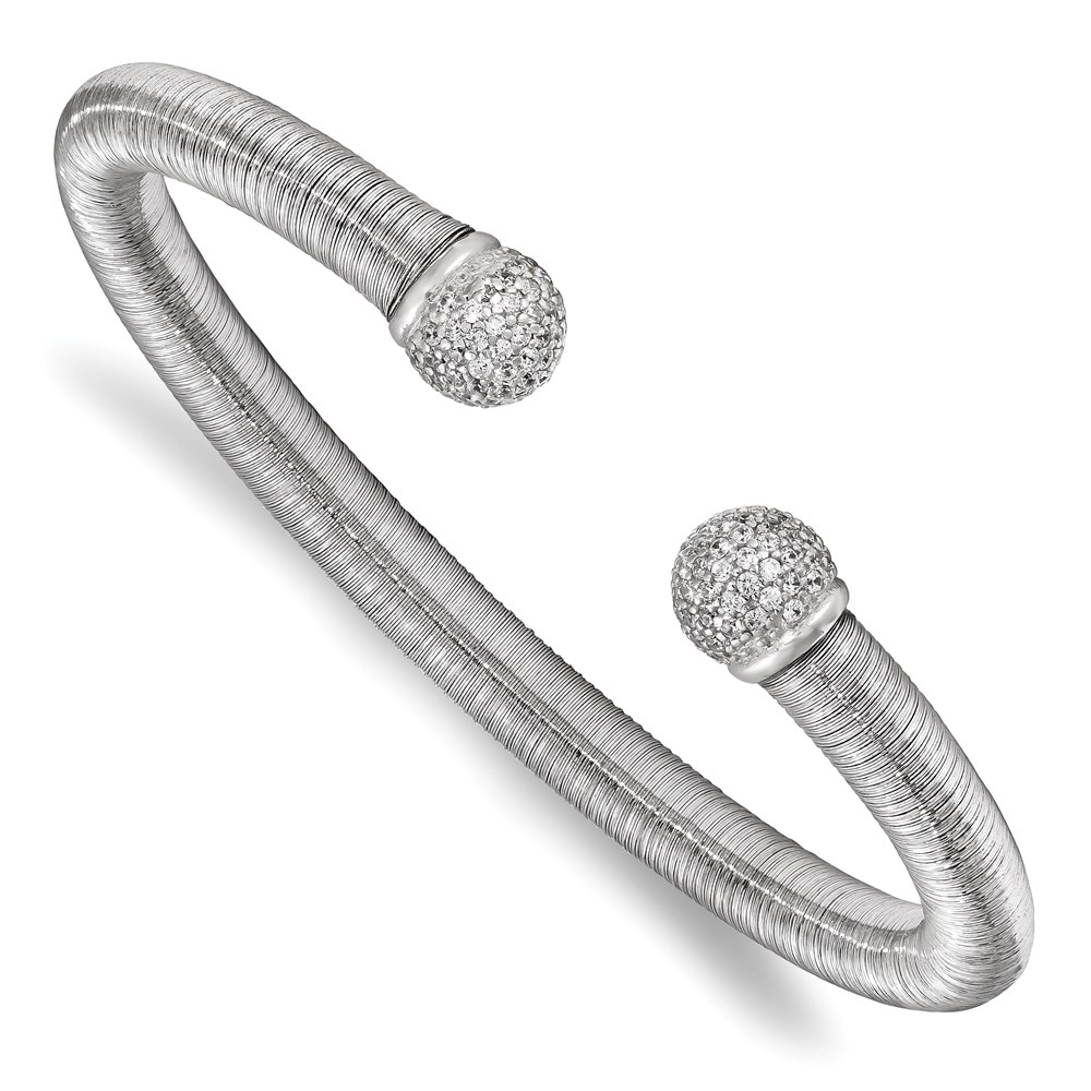 Sterling Silver Bangle - Leslie's Sterling Silver & Rhodium CZ Textured Cuff Bangle