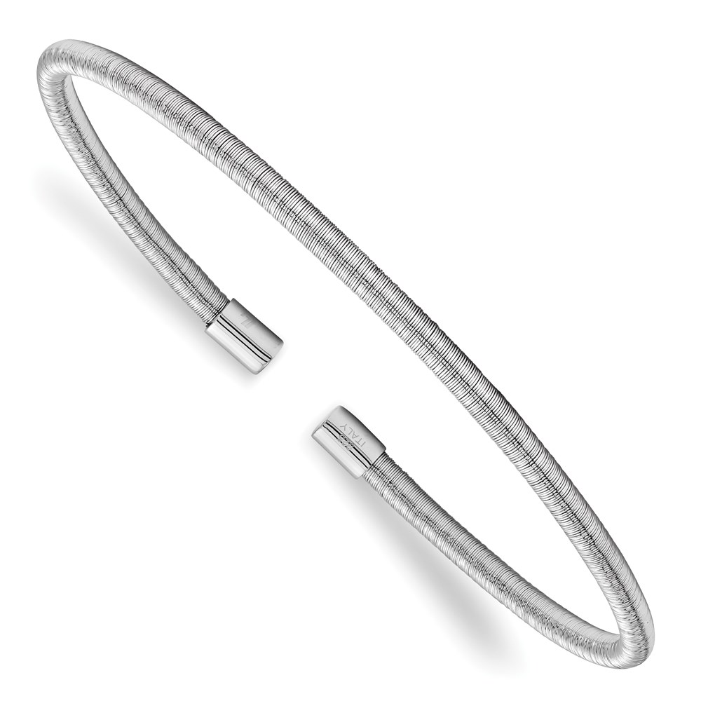 Sterling Silver Bangle - Leslie's Sterling Silver Rhodium Textured Cuff Bangle