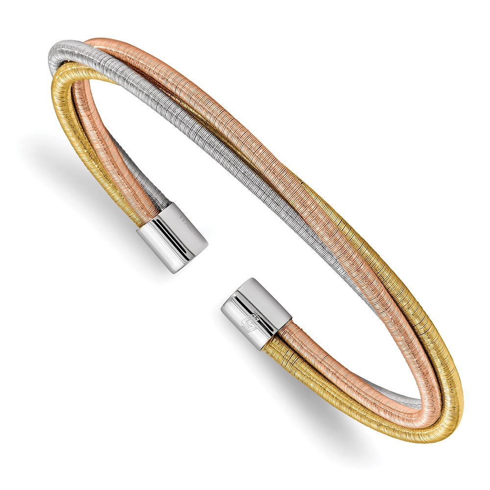 Sterling Silver Bangle - Leslie's Sterling Silver Yellow & Rose Rhodium Textured 3 Cuff Bangle