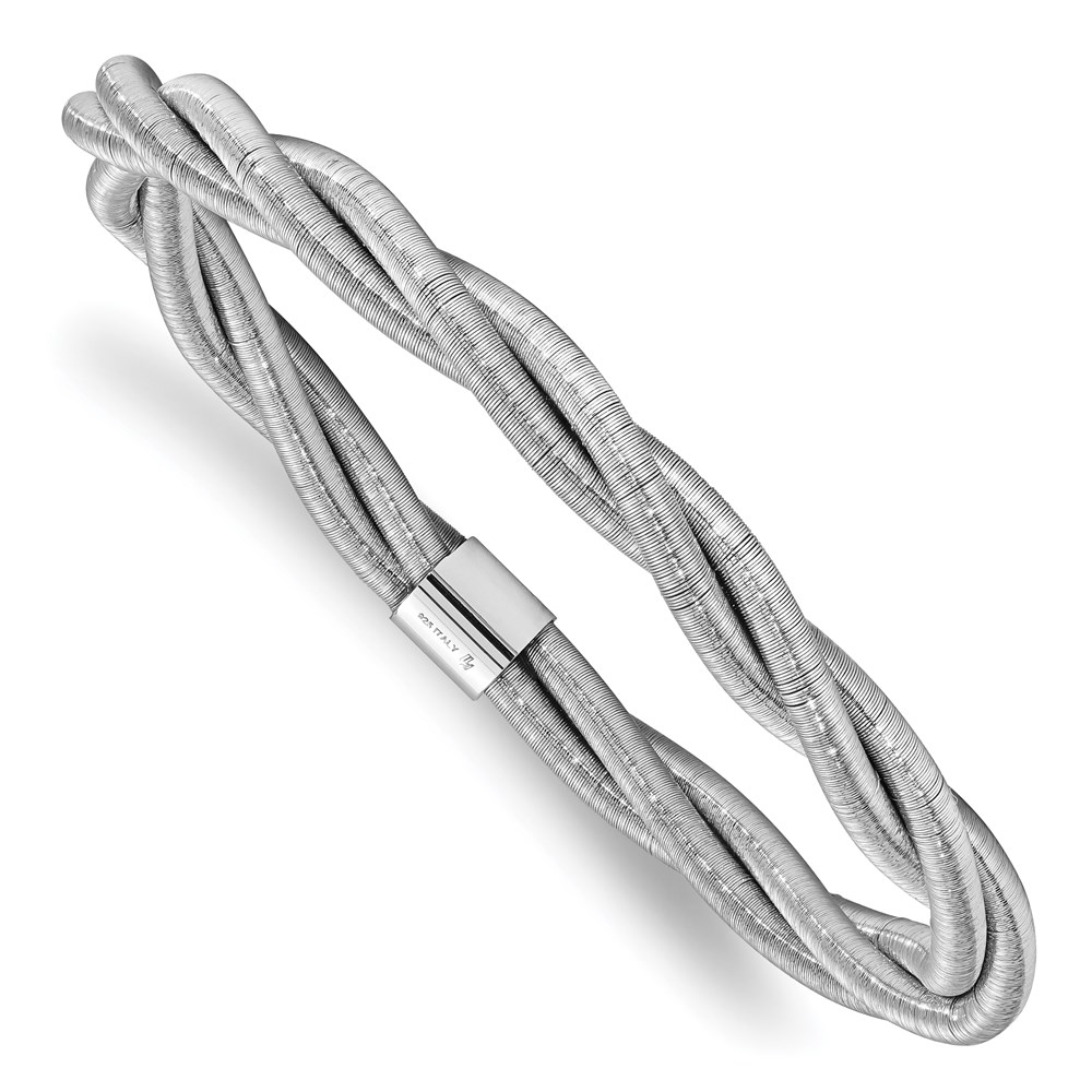 Sterling Silver Bangle - Leslie's Sterling Silver Rhodium Textured Twisted Slip-on Bangle