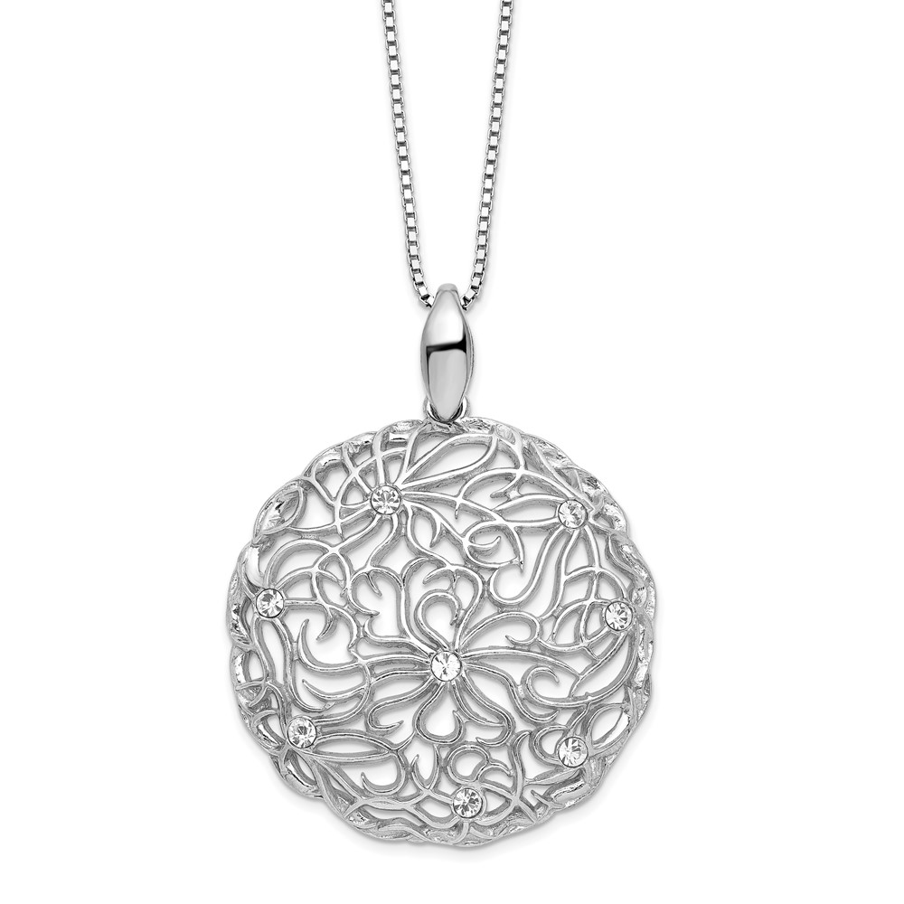Sterling Silver Necklace - Leslie's Sterling Silver Polished CZ Floral Necklace