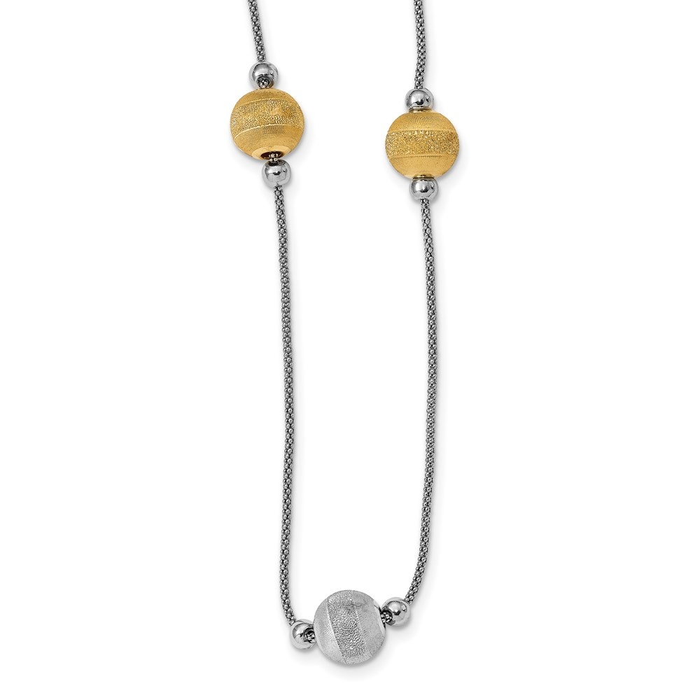 Sterling Silver Necklace - Leslie's Sterling Silver Yellow Rhodium Polished & Laser Cut Bead Necklace