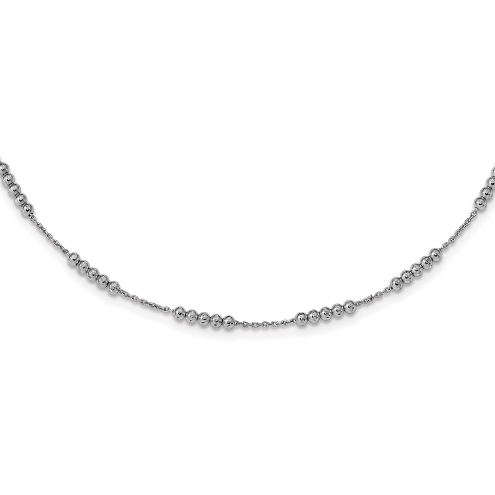 Leslies   Necklace - Leslie's Sterling Silver Polished D/C Beaded Necklace