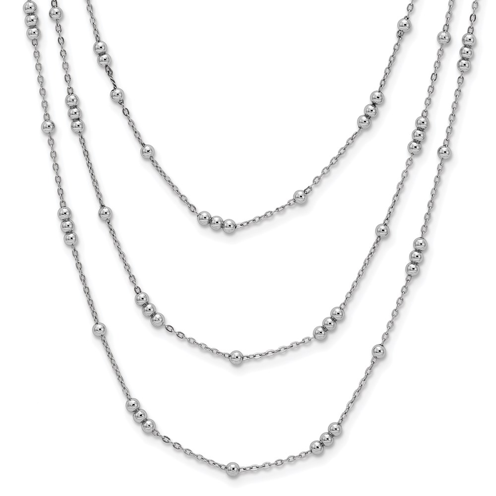 Sterling Silver Necklace - Leslie's Sterling Silver Polished Adjustable 3 Strand Necklace