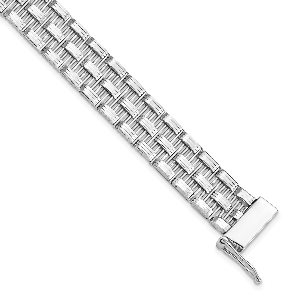 Sterling Silver Polished Link Bracelet by Leslie