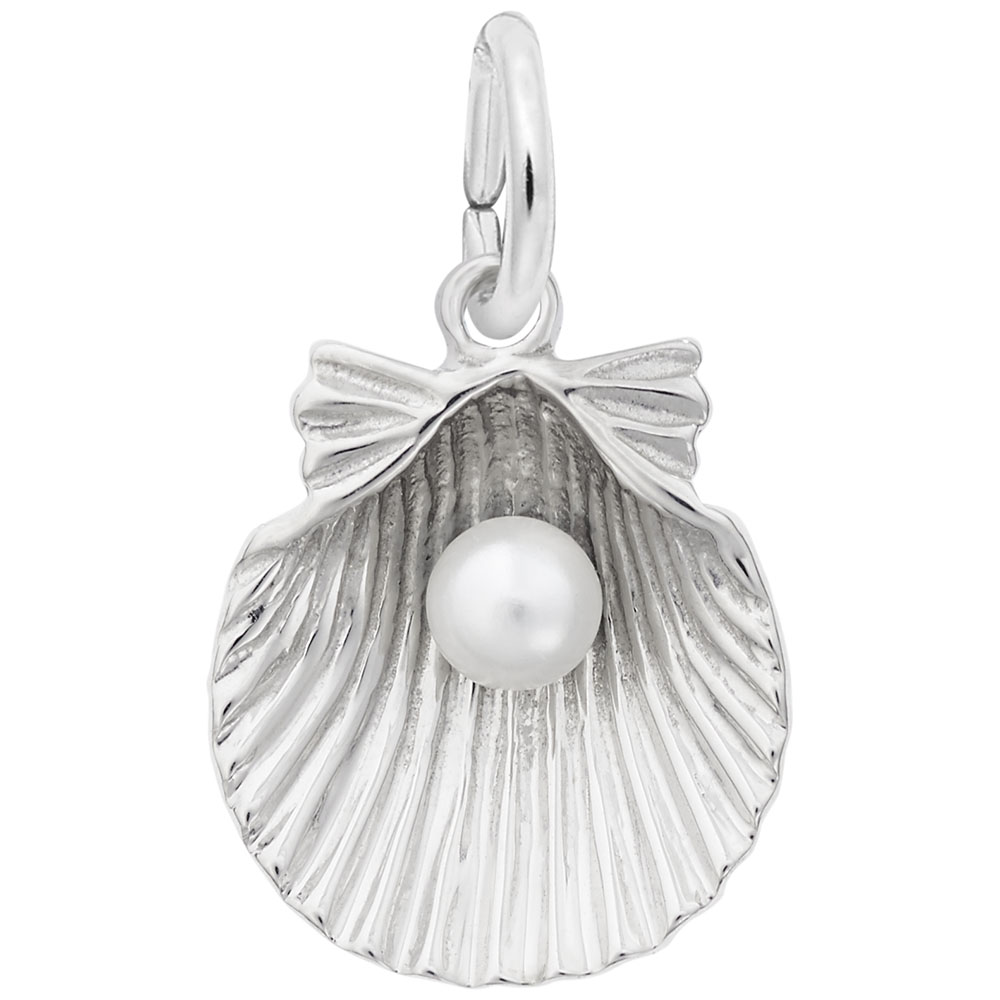 Shell With Pearl - Shell With Pearl  Animals  Charm.material:  14k White Gold
