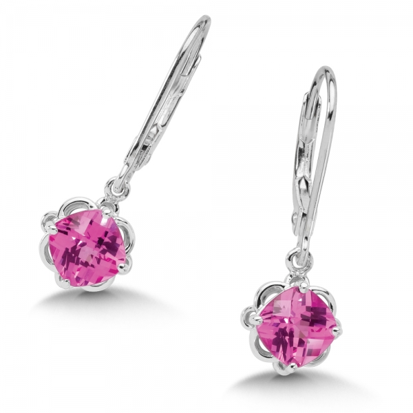 Colore SG  Sterling Silver Created Pink Sapphire Lever Back Hook Earrings by Colore | SG