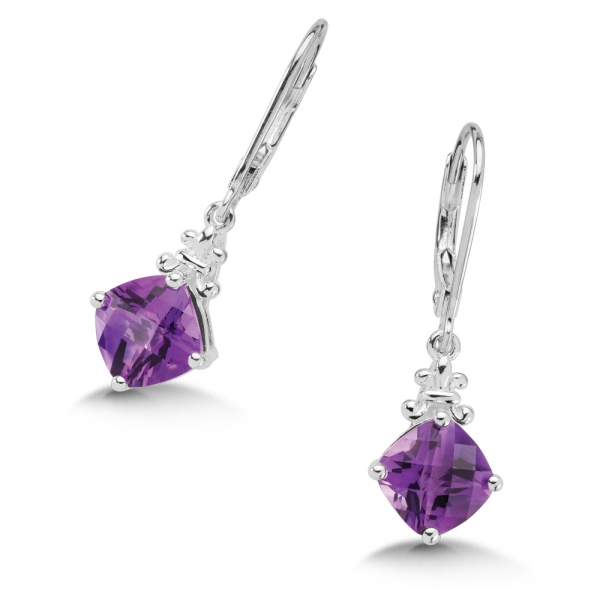 Colore SG  Sterling Silver Amethyst Lever Back Hook Earrings by Colore | SG
