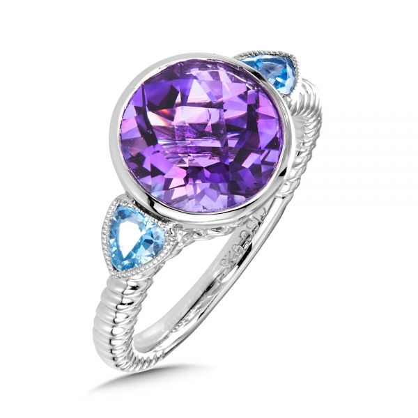 Colore SG  Sterling Silver Amethyst and Blue Topaz Ring by Colore | SG