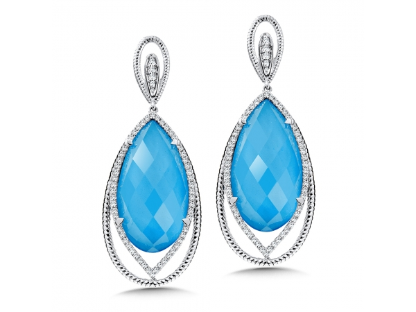 Colore Oro  Turquoise Fusion & Diamond Earrings in 14K White Gold - Make a statement with these gorgeous turquoise fusion drop earrings with diamond accent stones and rope textured 14k white gold. Available in 14K White, Rose, or Yellow Gold. Pear-shaped 22X12 mm centers.