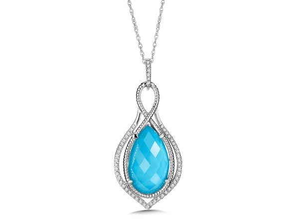 Colore Oro  Turquoise Fusion & Diamond Pendant in 14K White Gold - A vivid turquoise fusion pendant with diamond accent stones and our signature rope detailing in 14k white gold. Available in 14K White, Rose, or Yellow Gold. Pear-shape 20X12 mm center. Chain included.